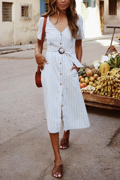 Ladies Gorgeous Short Sleeve V-Neck Button Down Belted Striped Slit Sheath Mid A-Line Dress