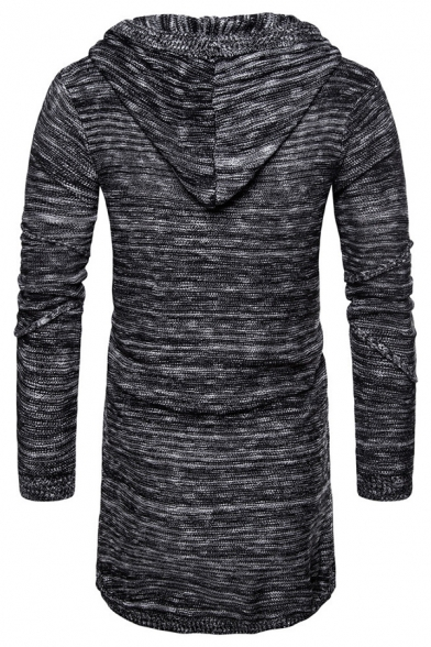 Mens Casual Solid Color Inverted Seam Slim Fit Hooded Pullover Sweater Longline Drawstring Hoodie