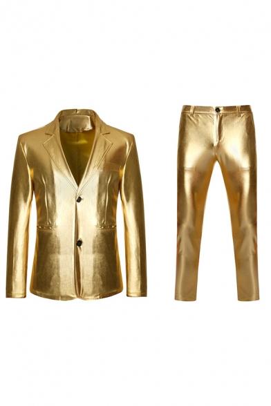 Mens Cool Plain Metallic Double Button Long Sleeve Party Blazer & Pants Set