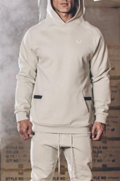 Mens Designer Solid Color Long Sleeve Zipper Pocket Slim Fit Outdoor Sports Hoodie