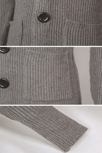 Mens Outdoor Casual Stand Collar Long Sleeve Button Down Slim Fit Plain Cardigan Coat with Pocket