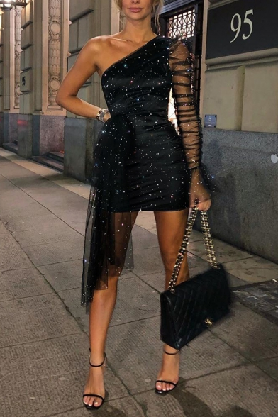 Sparkly Girls Long Sleeve One-Shoulder Sheer Mesh Patched Tied Waist Diamond Embellished Black Bodycon Gown Dress