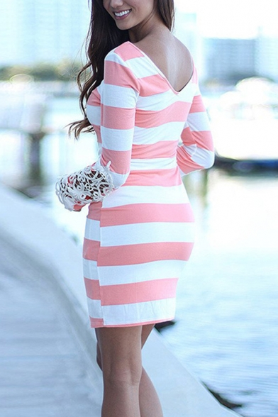 Women's Casual Long Sleeve Round Neck Stripe Print Lace Patched Cotton Mini Bodycon T-Shirt Dress