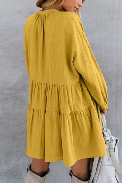 Women's Plain Long Sleeve Tied V-Neck Holiday Mini Ruffled Dress