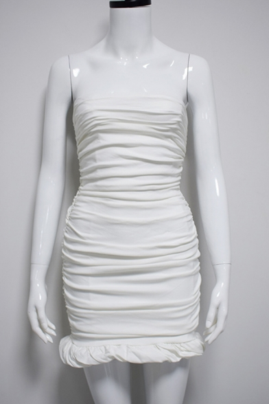 Women Sexy Plain Strapless Ruched Detail Evening Gown Mini Bandage Tube Dress