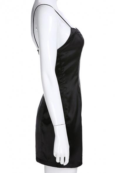 Womens Basic Solid Color Open Back Split Front Black Mini Strap Dress for Party