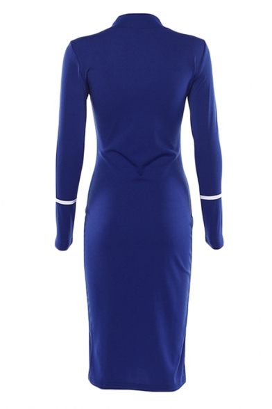 Womens Casual Striped Panel Long Sleeve High Neck Slim Fit Midi Party Dress
