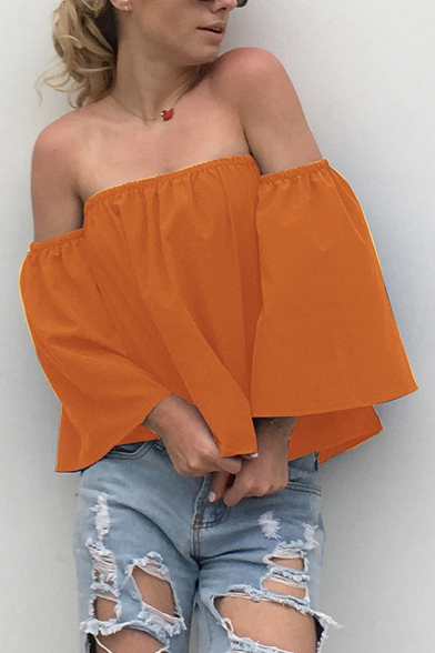 Womens Fashionable Solid Color Off the Shoulder 3/4 Length Sleeve Sexy Blouse Top