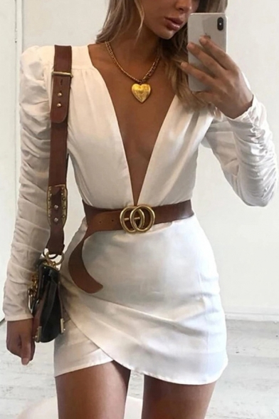 Womens Fashionable White Plain Puff Long Sleeve Plunge V Neck Mini Fitted Tulip Dress