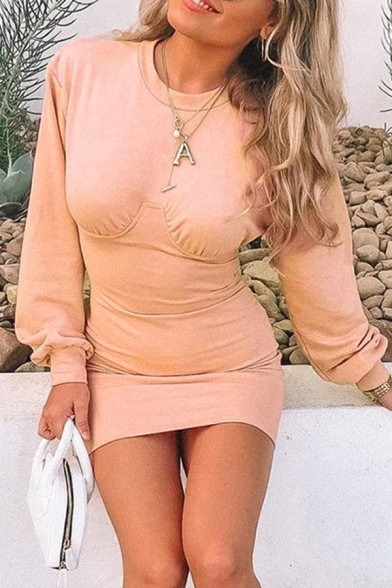 Womens New Stylish Plain Pink Long Sleeve Crew Neck Knit Mini Bodice Party Dress, LM569116