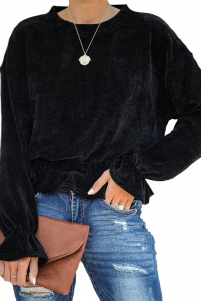 Womens New Stylish Solid Color Bell Long Sleeve Crew Neck Plain Ruffles Corduroy T-Shirt