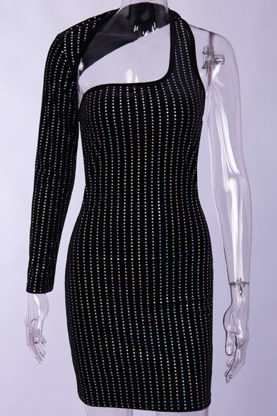Womens Sexy Black Iridescent Rhinestone Studded One Shoulder Sleeve Mini Designer Fitted Dress with Cut Out Detail