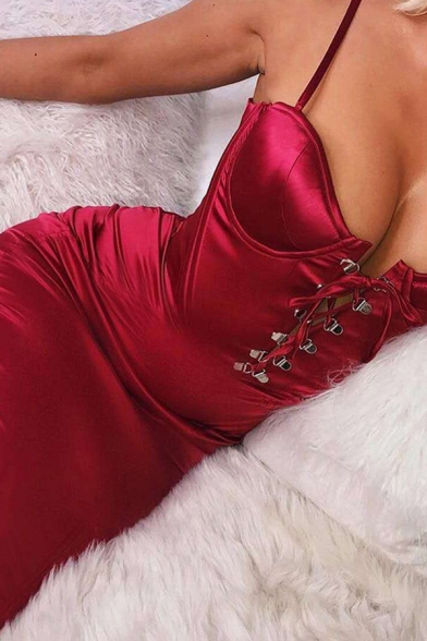 Womens Sexy Elegant Solid Color Lace Up Front Satin Midi Sheath Cami Dress for Party