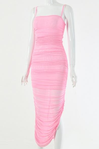 Womens Sexy Plain Ruched Detail Side Split Maxi Bandage Slip Dress