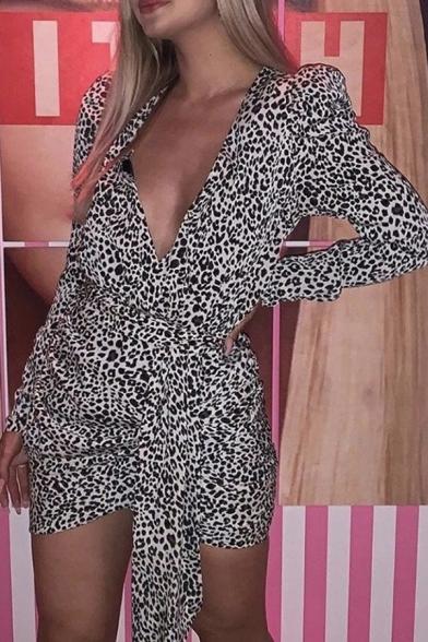Womens Stylish Leopard Pattern Deep V-Neck Puff Long Sleeve Tied Waist Black Mini Party Dress, LM570951