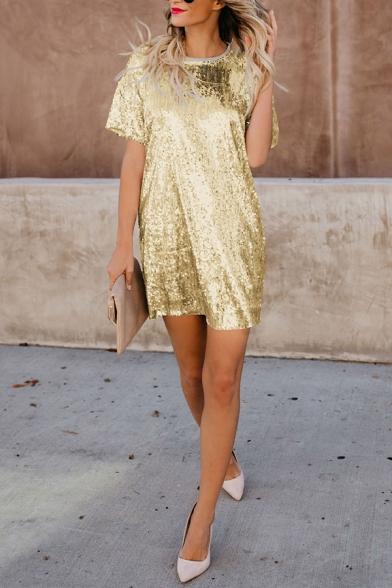Womens Stylish Round Neck Short Sleeve Loose Mini Sequined T-Shirt Dress