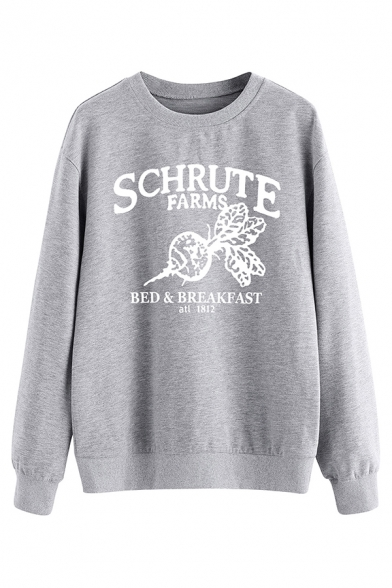 Womens Trendy Letter SCHRUTE FARMS Print Long Sleeve Loose Graphic Sweatshirt