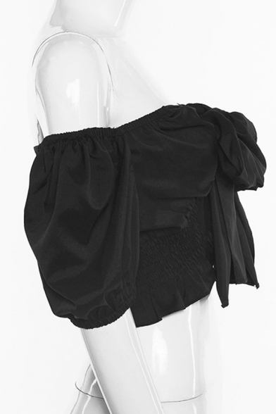 Black Cool Puff Sleeve Halter Bow Tie Front Pleated Slim Fit Crop Top for Club Girls