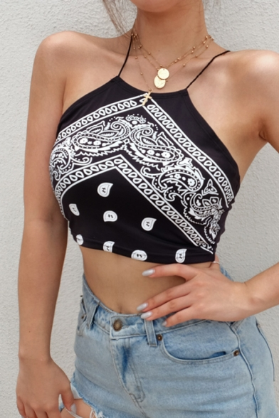 Bohemian Sexy Girls' Sleeveless Halter Mixed Patterned Cut Out Back Slim Fit Black Crop Tank Top
