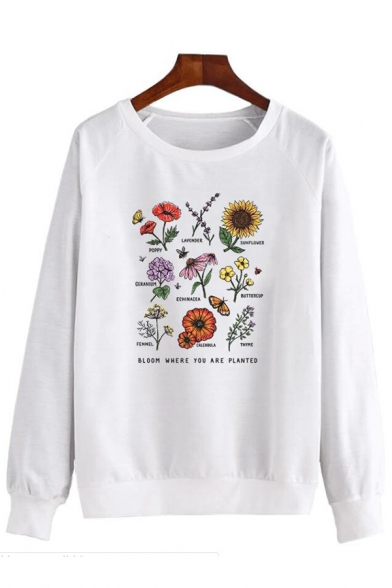 Chic BLOOM WHERE YOU ARE PLANTED Print Long Sleeve White Graphic Pullover Sweatshirt