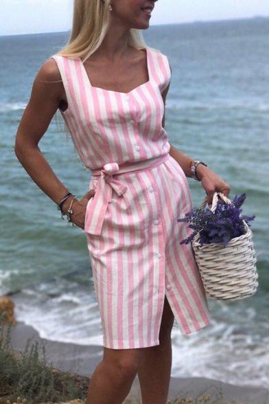 Coast Girls' Sleeveless Square Neck Stripe Pattern Bow Tie Waist Button Down Slit Front Plain Short Sheath Dress