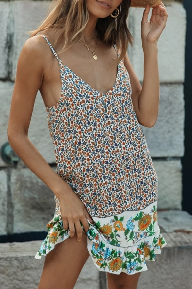 Fancy Beach Girls' Sleeveless V-Neck Floral Print Ruffled Trim Patched Short A-Line Cami Dress in White