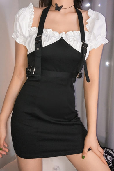 Fashionable PU Buckle Halter Panel Color Block Stringy Selvedge Short Sleeve Black Fitted Mini Party Dress