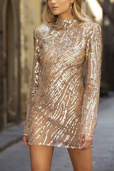 Formal Amazing Ladies' Long Sleeve Mock Neck Sequined Open Back Mini Shift Pageant Dress in Gold