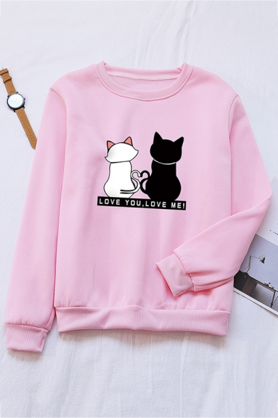 LOVE YOU LOVE ME Letter Two Cats Printed Long Sleeve Casual Pullover Sweatshirt, Black;green;pink;red;royal blue;white;gray;khaki;sky blue, LC571078