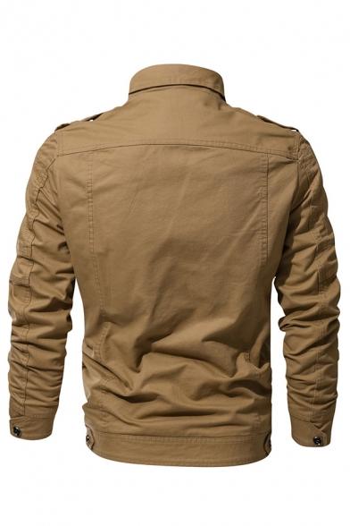 Mens Fall Popular Plain Long Sleeve Zip Placket Slim Fit Military Jacket