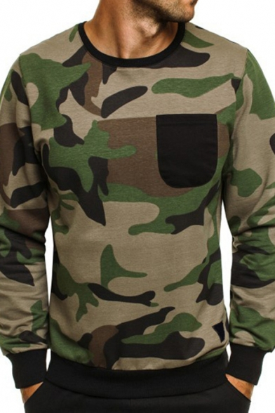 Mens Leisure Camouflage Printed Long Sleeve Round Neck Slim Fitted Pullover Sweatshirt