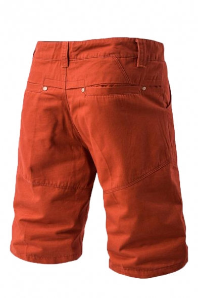 Mens Simple Zipper Fly Mid-Waist Solid Color Cargo Shorts with Pocket