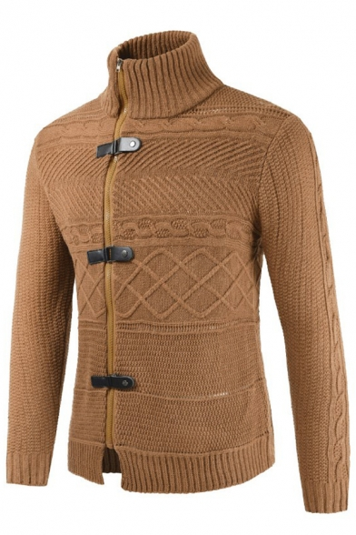 Mens Vintage Plain Leather Buckle Zipper Placket High Collar Slim Fit Chunky Knitted Cardigan Coat