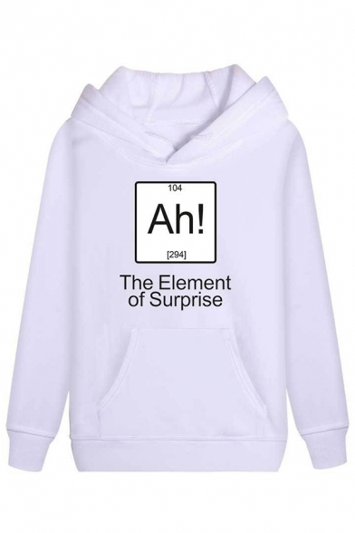 New Popular Letter ELEMENT OF SURPRISE Printed Long Sleeve Pullover Hoodie