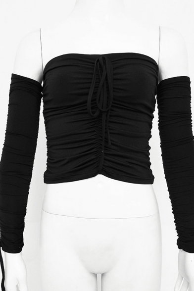 Plain Elegant Long Sleeve Off The Shoulder Bow-Tie Ruched Drawstring Slim Fit Crop Tee for Ladies