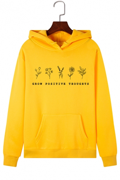 Simple Flower Letter GROW POSITIVE THOUGHTS Print Long-Sleeved Hoodie with Pocket