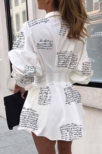 Stylish Girls' Long Sleeve Lapel Collar Letter Print Button Down Mini Pleated A-Line Shirt Dress in White