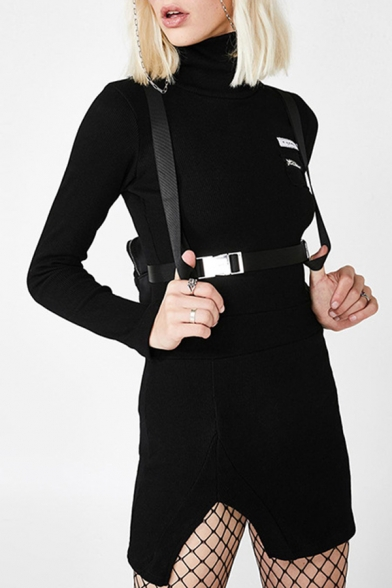 Womens Casual Zipper Embellished Plain Long Sleeve Turtle Neck Split Side Mini Fitted Pullover Dress