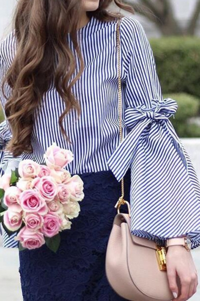 Womens Fashion Blue and White Stripes Print Bowknot Split Bell-Sleeve Loose Casual Blouse
