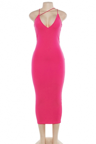 Womens Sexy Plain Plunge V Neck Maxi Strappy Bodycon Dress for Party