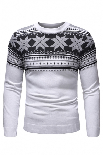 Classic Polygonal Pattern Round Neck Long Sleeve Slim Fit Casual Knitted Pullover Sweater for Men