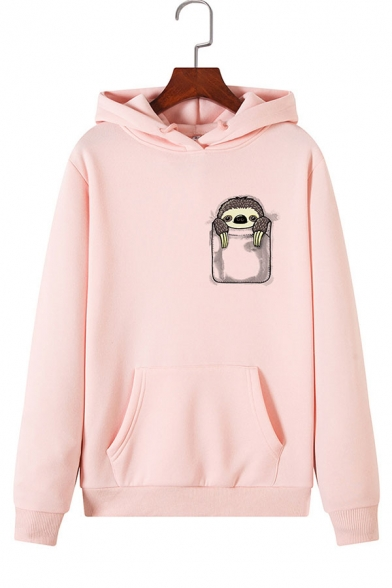 Cute Pocket Sloth Pattern Long Sleeve Pouch Pocket Casual Pullover Hoodie, Black;green;pink;red;royal blue;white;gray;light blue;yellow;light green, LC575550