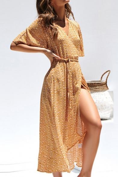 Ladies' Glamorous Short Sleeve V-Neck Patterned High Split Side Bow-Tied Fitted Wrap Long Flowy Dress in Orange