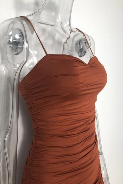 Ladies Stylish Plain Spaghetti Straps Zipper Back Maxi Fitted Bandage Dress