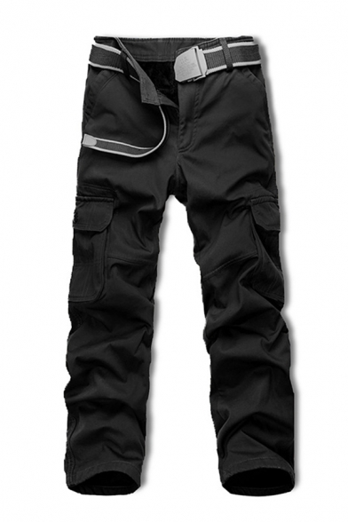 Mens Casual Plain Multi-Pocket Zipper Fly Straight Fit Thick Work Pants