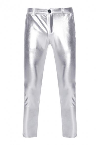 Mens Cool Plain Metallic Zipper Placket Skinny Pants for Disco Dancing