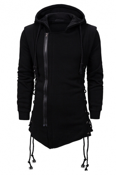 Mens Gothic Style Plain Long Sleeve Side Zip Placket Lace Up Detail Tunic Hoodie