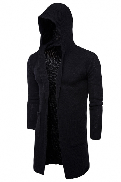 Mens Simple Open Front Long Sleeve Chunky Knit Plain Tunic Hooded Cardigan Coat