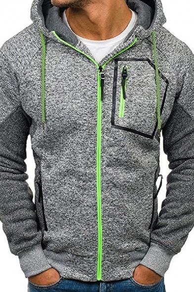 Mens Simple Zipper Pocket Colorblocked Long Sleeve Zip Up Slim Fit Sports Hoodie
