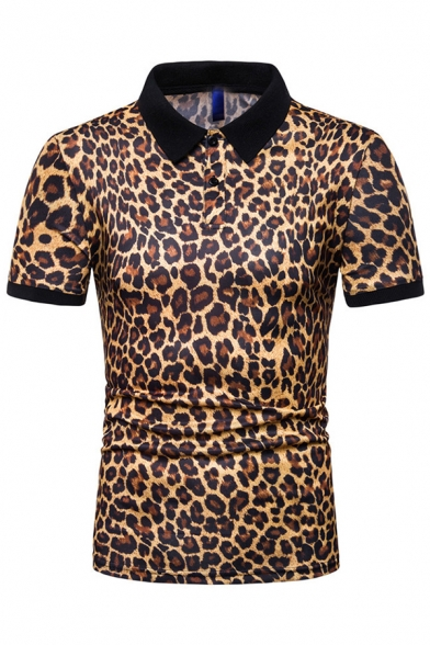 Mens Unique Contrast Collar Leopard Print Button Front Lapel Short Sleeve Fitted Polo Shirt